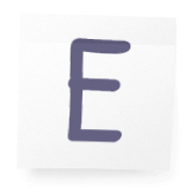Sticky-note with the letter E on it.
