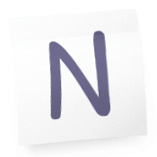 Sticky-note with the letter N on it.